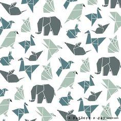 Origami animals pattern illustration