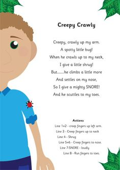 Creepy Crawly Poem - a fun finger play to accompany your insect study Kindergarten Songs, Preschool Music, Preschool Activities, Preschool Action Songs, Preschool Boards, Preschool Worksheets, Bug Songs, Songs For Toddlers, Children Songs
