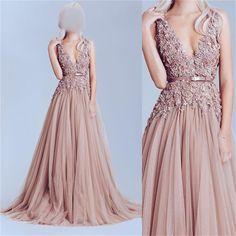 Dusty Pink Tulle Long Deep V Neck Elegant Party Prom Dress, BG51086