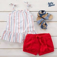 NEW FAVORITE ALERT: with striped chambray, bow straps and a ruffle hem, this tank is sure to be in her weekly rotation. Bright bubble shorts and gladiator sandals complement this versatile ensemble. Cute Little Girls Outfits, Toddler Girl Outfits, Little Girl Dresses, Kids Outfits, Girls Dresses, Frocks For Girls, Cute Baby Clothes, Baby Dress, Kids Fashion
