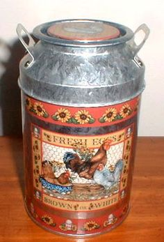 Rooster Milk Can ~ The front and back have detailed color renderings of chickens and roosters.