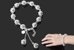 Free shipping wholesale 925 Silver Bracelet Fashion Hollow Silver Bracelets BG017