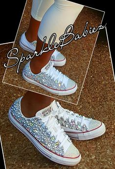 Custom Bling  amp  Pearl Converse Chuck Taylors  SparkleBabiez Bedazzled  Shoes 8593f2693
