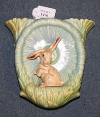 A Sylvac pottery wall pocket in the form of a mushroom with seated rabbit, model No. 323.