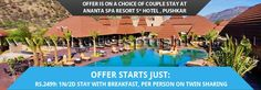 Offer Starts Just - Rs.2499 : 1N/2D Stay with breakfast, Per Person on Twin Sharing  Hotel Facilities:  Fitness center Banquet hall Fine dining restaurant 24hr room service  Room Amenities:  Air conditioning Internet access Telephones Refrigerator Tea and coffee maker Safe Hair dryer on request  For booking this offer or for any other details contact us at http://www.tirupatiholidays.net/five-star-ananta-spa-resort-pushkar-hotel-deals.html