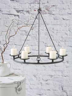 Bring some romantic lighting into your home with our stunning new pillar candle chandelier.  sc 1 st  Pinterest & outdoor Chandelier for my pergola. | For the Home | Pinterest ... azcodes.com