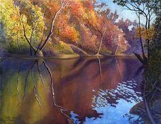 Autumn landscape, art watercolor painting print of original by Cathy Hillegas, Autumn On Blue River