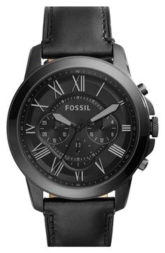 Free shipping and returns on Fossil 'Grant' Chronograph Leather Strap Watch, 45mm at Nordstrom.com. Crisp Roman-numeral indexes mark the deeply colored, easy-to-read face of this cleanly styled chronograph watch. A handsome leather strap complements the classic, substantial look.