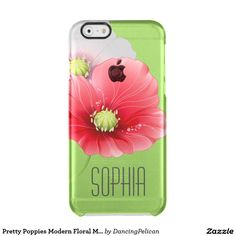 Pretty Poppies Modern Floral Monogram Clear iPhone 6/6S Case - This feminine phone case features a pair of beautiful poppies against a spring green background. Embellished with a lovely modern monogram, you may personalize this case as you like. Sold at DancingPelican on Zazzle.