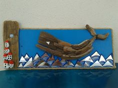 Driftwood, mirror pieces n pebble houses