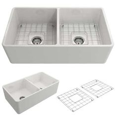 BOCCHI Classico Farmhouse Apron Front Fireclay 33 in. Double Bowl Kitchen Sink with Bottom Grid and Strainer in - The Home Depot BOCCHI Classico Farmhouse Apron Front Fireclay 33 in. Double Bowl Kitchen Sink with Bottom Grid and Strainer in Biscuit. Fireclay Farmhouse Sink, Fireclay Sink, Farmhouse Sink Kitchen, New Kitchen, Kitchen Ideas, Kitchen Decor, Kitchen Designs, Apron Front Sink, Apron Sink Kitchen