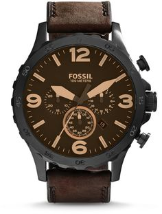 85f700ff34b Fossil Nate Chronograph Brown Leather Watch