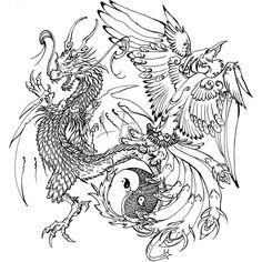 Ying Yang Phoenix Dragon Tattoo Photo by MrMomoneo Dragon Tattoo Photo, Tattoo Dragon And Phoenix, Dragon Tattoo Art, Celtic Dragon Tattoos, Phoenix Tattoos, Fairy Tattoo Designs, Dragon Tattoo Designs, Gargoyle Drawing, Dojo