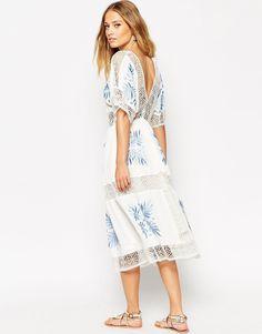 Image 2 ofASOS Premium Crochet Cutwork Midi Dress with Blue Embroidery