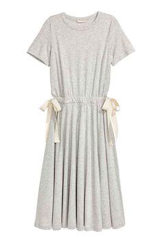 Трикотажное платье с завязками - Серый меланж - Женщины   H&M RU