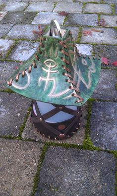 Balmora Lantern for LARP and medieval ambiance / eldar cthulhu mage cultist Leather Hats, Leather Pouch, Cthulhu, Colorfull Background, Gn, Copper Color, Larp, Decoration, Color Patterns