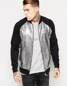 ASOS Jersey Bomber Jacket With Metallic Panel - that should be mine!