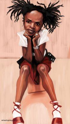 Lauren Hill - Ernesto Priego Funny Caricatures, Celebrity Caricatures, Celebrity Drawings, Lauryn Hill, Caricature Artist, Caricature Drawing, Hugo Weaving, Hugh Grant, Gary Oldman