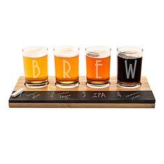 Groomsman Gift Idea: Personalized Bamboo & Chalkboard Beer Tasting Flight