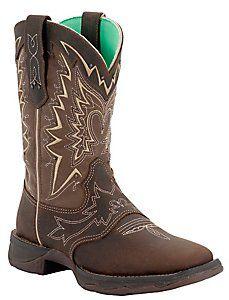Durango® Rebel™ Ladies Nicotine Distressed Shrunken Cowhide Square Toe Western Boots