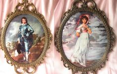 Vintage Pinky and Blue Boy Brass Italy Frame Wall by happybdaytome, $55.00