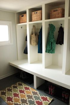 Built in locker storage in mudroom. Super deep. No need for a cushion.