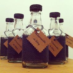 Souvenirs / Botellitas lemoncello / Rústico / Kraft / Arpillera / Giveaways / Rustic / Bottles / By LAURA&DONNA / Contact us lauraydonna@gmail.com