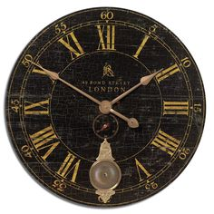 This antique-style black wall clock is based on the classic Bond Street railway station design. Featuring a weathered face and gilt Roman numerals, it will add a touch of classic style to any room. Its large 30-inch diameter makes it easy to read.