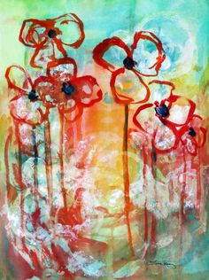 Summer in Bloom - original abstract in watercolor