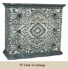 Guildmaster's Harmony classic Chest has an Antique Smoke finish with hand-painted Harmony art on solid mahogany chest. Dimensions: Height: 48 in / cm, Width: 55 in / cm, Depth: 23 in / cm, Weight: lbs / 104 Kg Hand Painted Furniture, Home Furniture, Furniture Ideas, Funky Furniture, Stenciling Furniture, Asian Furniture, Western Furniture, Furniture Refinishing, Furniture Hardware