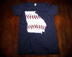 Georgia baseball Ladies t-shirt in Atlanta Braves colors Buy Any 3 Shirts Get a 4th FREE