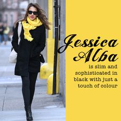 We love this black and yellow ensemble by Jessica Alba. #celebrity #style #fashion