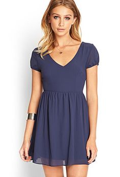 Puff Sleeve Chiffon Dress | FOREVER21 - 2000068108