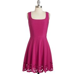 Mid-length Sleeveless A-line Eyelet Getaway Dress ($55) ❤ liked on Polyvore featuring dresses, pink, apparel, fashion dress, eyelet dress, pink cocktail dress, pink a line dress, holiday dresses and purple cocktail dress