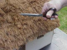 Thatching Fairy Roofs for your fairy homes in your garden.