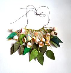 spring necklace silk cocoon necklace. silk cocoons от batikelena