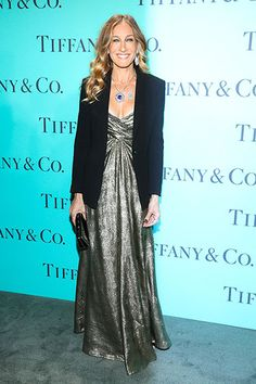 In vintage Vicky Tiel at the Tiffany & Co. Blue Book Ball.