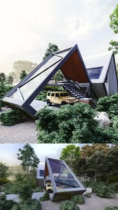 Architecture Renovation, Architecture Design, Modern Small House Design, Modern Design, Triangle House, A Frame House Plans, Casas Containers, Forest House, Amazing Architecture