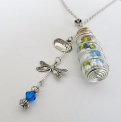 Charm Pendant Necklace with Wire Wrapped Bottle by JasGlassArt, $20