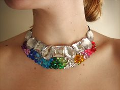 Colorful rainbow rhinestone choker. Jewel statement necklace from Etsy. By Sparkle Beast Designs