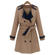 Sophisticated Lapel Collar Double-Breasted Belt Epaulet Embellished Long Sleeves Women's Trench Coat, SAPPHIRE BLUE, L in Jackets & Coats | ...