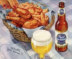 Fried chicken French fries and a Pabst? Whatll we have?! In 1954 we would have gladly had everything in this @pabstblueribbon beer ad. Oh hell we would gladly have everything in this ad today! #tbt