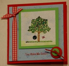Eyelet tire using Stampin Up A Tree for All Seasons retired stamp set Rolodex, Weird And Wonderful, Throwback Thursday, Scrapbooks, Handmade Cards, Embellishments, Stampin Up, Origami, Card Making