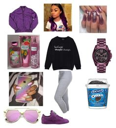 """Purple N Popular😭😏"" by pinkpanther2318 ❤ liked on Polyvore featuring Puma, Members Only and Michael Kors"