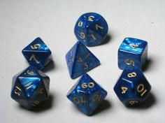 FRP GAMES - PRODUCT - Crystal Caste RPG Dice Sets: Blue Pearl Polyhedral 7-Die Cube/Set