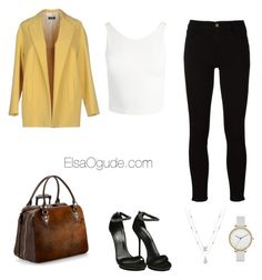 """""""Work outfits with jeans"""" by elsaogude on Polyvore featuring Frame, Sans Souci, Aspinal of London, Sopi, Gucci and Skagen"""