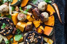 Hearty roast vegetable platter with stuffing balls recipe, Bite – A roast doesnamprsquot always need to imply meat This roast is all about glorious vegetables - Eat Well (formerly Bite) Tart Recipes, Side Recipes, Curry Recipes, Stuffing Balls Recipe, Frittata Recipes, Polenta Recipes, Couscous Recipes, Growing Winter Vegetables, Roast Pumpkin