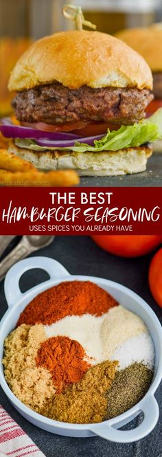 - This Hamburger Seasoning comes together with simple ingredients that you can already find in your pantry. Add it to your hamburger patties for the best hamburger seasoning! Make a big batch and have it on hand all grilling seasoning. Hamburger Spices, Hamburger Meat Recipes Ground, Grilled Hamburger Recipes, Healthy Hamburger, Hamburger Patties Recipe, Hamburger Seasoning Recipes, Simple Hamburger Patty Recipe, Hamburger Recipes For Dinner, Dressings