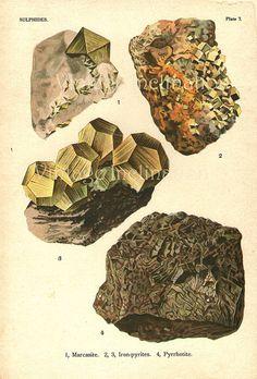 Vintage Chart 1922 Chromolithograph Minerals