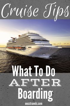 Cruise Tips: What to do After Boarding So you are officially on your vacation and have boarded the cruise ship! Here are 17 tips of things to do after boarding and during your cruise. Packing List For Cruise, Cruise Tips, Cruise Travel, Cruise Vacation, Vacation Trips, Disney Cruise, Packing Tips, Vacation Ideas, Honeymoon Ideas